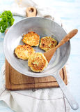 Cheese courgette dill pancakes Royalty Free Stock Photos