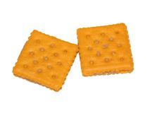 Cheese crackers. Cheese and peanut butter crackers on white background Royalty Free Stock Photo
