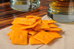 Cheese crackers on a bar counter Royalty Free Stock Photography