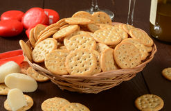 Cheese and crackers Stock Images