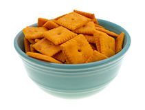 Cheese crackers in bowl Royalty Free Stock Photos