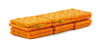 Cheese crackers peanut butter Stock Image