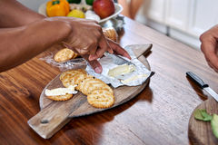 Cheese crackers platter Stock Image