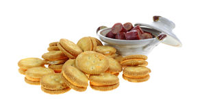 Cheese Crackers Sliced Sausage Dish Royalty Free Stock Image