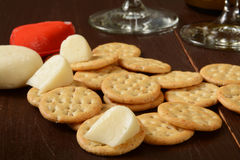 Cheese crackers and wine Royalty Free Stock Image