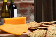 Cheese crackers and wine Royalty Free Stock Photo