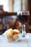 Cheese, Crackers and Wine. Wine and Cheese Snack at Cafe stock image