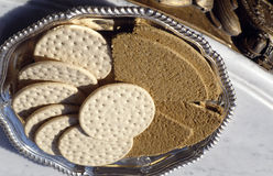 Cheese crakers and brown bread Stock Images