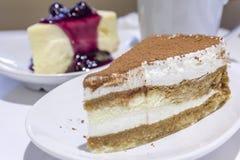 Cheese Cream Cake Cocoa Topping Royalty Free Stock Photos