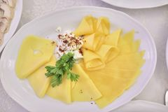 Cheese with cream and parsley royalty free stock images