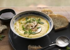 Cheese cream soup with mushrooms, herbs and white bread in gray plate on wood background royalty free stock images