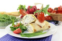 Cheese crepe rolls Royalty Free Stock Photography
