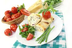 Cheese crepe rolls Royalty Free Stock Image