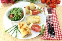 Cheese crepe rolls Stock Image