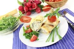 Cheese crepe rolls Stock Images