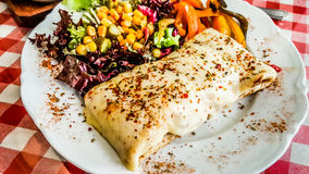 Cheese crepe served with spices and salad at restaurant. Stock Photography