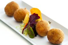 Cheese croquette. Close up of multiple cheese croquette dish Stock Photos