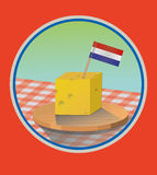 Cheese. A cheese cube with a Dutch flag Stock Photography