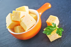 Cheese cubes Stock Photo
