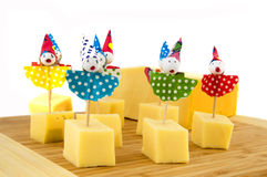Cheese cubes for child party Royalty Free Stock Photos