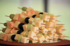 Cheese cubes and fresh fruit Stock Photography