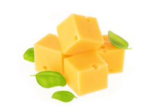 Cheese cubes isolated on white background. Piece of cheese isolated on a white background. With clipping path Royalty Free Stock Image