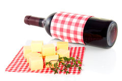 Cheese cubs and red wine Royalty Free Stock Image