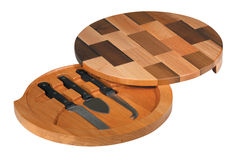 Cheese cutting board with tools Royalty Free Stock Photography