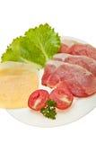 cheese cutting meat vegetables royaltyfri foto