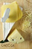 Cheese on cutting wood Royalty Free Stock Images