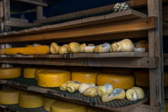 Cheese at the dairy, cheese is ripen on racks. Cheese at the dairy, cheese is ripen on wood racks Stock Photos