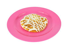Cheese danish on a pink plate Stock Image
