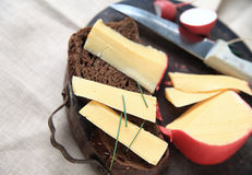 Cheese on dark bread with copy space Royalty Free Stock Photography