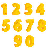 Cheese  decorative numbers. Vector illustration Stock Photos