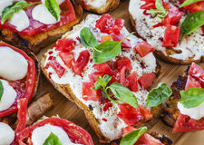 Cheese delicious breakfast toasts tomatoes Royalty Free Stock Photography