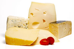 Cheese Different Sorts. A on white background Stock Images