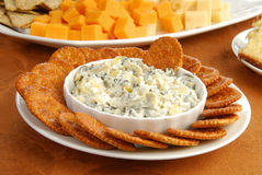 Cheese dip and crackers Royalty Free Stock Images