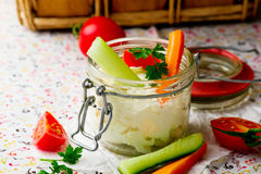 Cheese dip with fresh vegetables for picnic Stock Photography