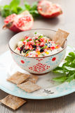 Cheese dip with pomegranate seeds Royalty Free Stock Image