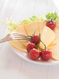 Cheese in discs cut on a plate Royalty Free Stock Image