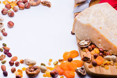 Cheese with dried fruits and nuts Stock Photo