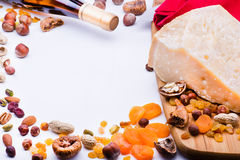 Cheese with dried fruits and nuts Royalty Free Stock Photography