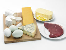 Cheese, eggs, butter and beef. A cheeseboard, eggs, butter and a portion of raw beef on a white background Stock Photo