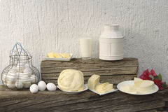 Cheese, eggs, milk Stock Images