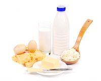 Cheese eggs and milk glass. Stock Images