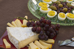 Cheese, Eggs, Olive and Grapes. Deviled eggs, kalamata and green olives with brie and Gouda and grapes served as horderves before dinner Stock Images