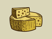 Cheese engraving style vector illustration Royalty Free Stock Photo