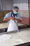Cheese factory worker Royalty Free Stock Photos