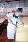 Cheese factory worker checking fermentation Stock Images