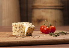 Cheese fantasy. Spices and tomatoes Stock Image